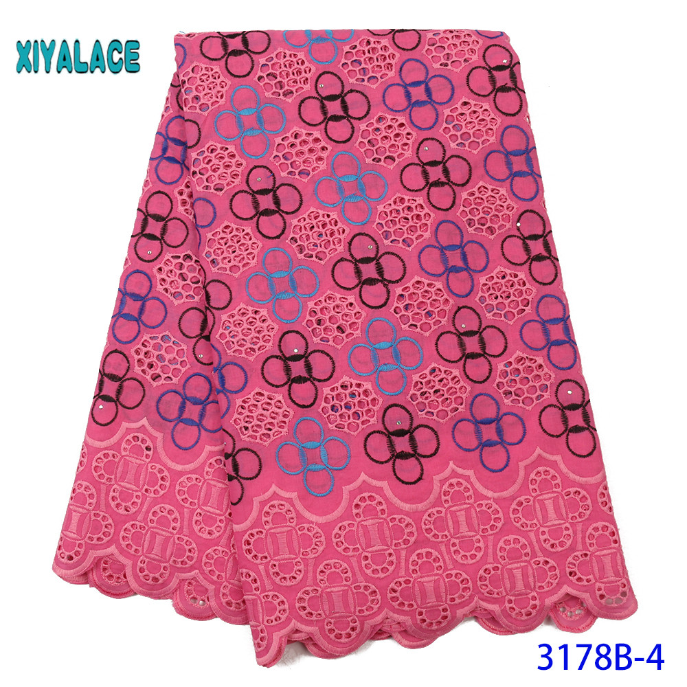 High Quality French Embroidered Lace Fabric Nigerian Wax Jacquard Water-soluble 100% Cotton For Wedding Party 5yards YA3178B-4