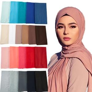 Image 1 - 28 COLOR New Women Muslim Scarf Elastic Hijabs Islamic Shawls Soild PLAIN Modal Headscarf For Women Jersey Scarf