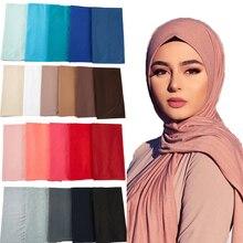 Bufanda musulmana elástica para mujer, Fular islámico, liso, para la cabeza, Jersey, 28 colores