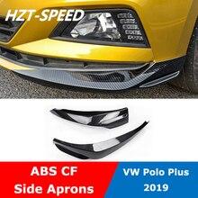 ABS углеродное волокно, передний бампер для автомобиля, спойлер, боковые фартуки, угловые Чехлы для Volkswagen Polo Plus