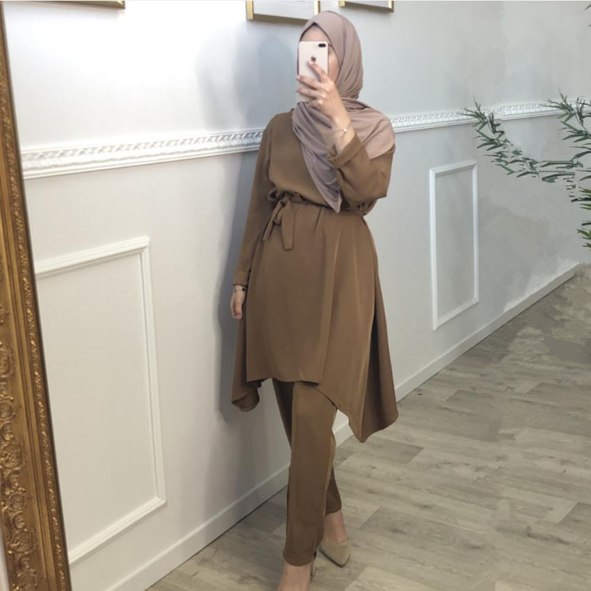 2 Pieces muslim suits Hijab Muslim sets female Kaftan Islamic Clothing Grote Maten Dames Kleding Ensemble Femme Musulmane F1701
