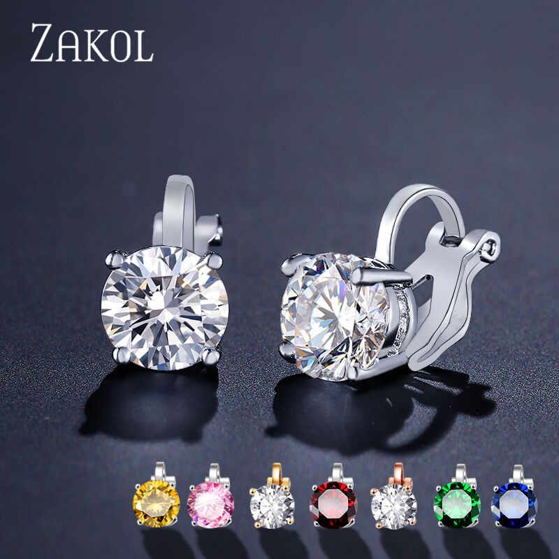 ZAKOL Cubic Zirconia Clip Earrings for women Fashion Crystal Jewelry Earrings Female Wedding Party Gift top quality FSEP526