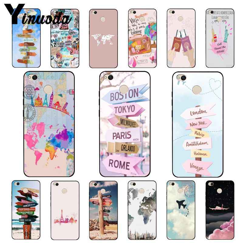 Yinuoda Airplane Travel World Map Road Sign Phone Case for Xiaomi mi5 6 A1 A2 Lite Mi9 9SE mi8lite F1 Mix2 2S Max2 3