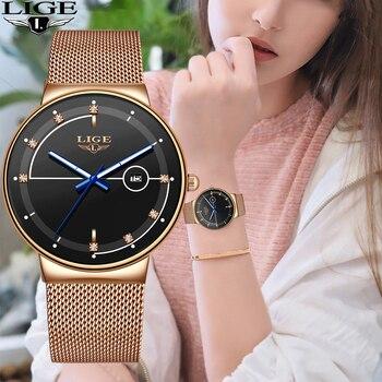 Relogio LIGE Fashion Womens Watches Top Brand Luxury Simple Slim Watch Women Waterproof Mesh Belt Gold Watch Relogio Feminino brand ar8186 2015 relogio mascuulino