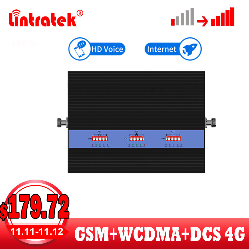 Lintratek New Model Repeater GSM 3G 4G Signal Booster GSM DCS WCDMA 25dBm Cellular Signal Booster Voice Internet Amplifier