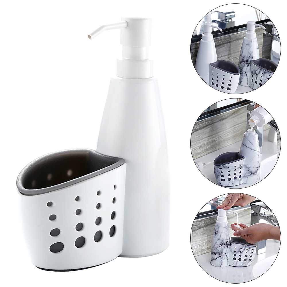 Multifunction Kitchen Bathroom Hand Liquid Soap Dispenser Pump Detergent Storage Box Rack Cleaning Sponge Drainboard Soap Holder