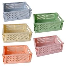 2021 New Collapsible Crate Plastic Folding Storage Box Basket Utility Cosmetic Container