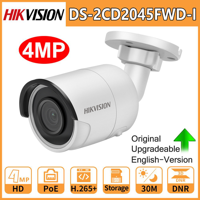 Hikvision Original IP Camera Security HD 4MP DS 2CD2045FWD I Night Vision IR30M Bullet PoE Surveillance Web Cam H.265 Card Slot