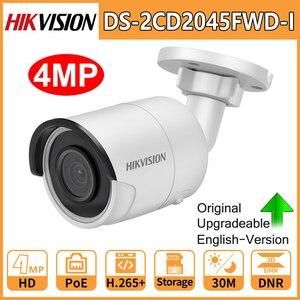 Image 1 - Hikvision Original IP กล้องความปลอดภัย HD 4MP DS 2CD2045FWD I Night Vision IR30M Bullet POE กล้องวงจรปิด Web CAM H.265 การ์ด