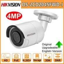 Hikvision orijinal IP kamera güvenlik HD 4MP DS 2CD2045FWD I gece görüş IR30M Bullet PoE gözetim Web Cam H.265 kart yuvası