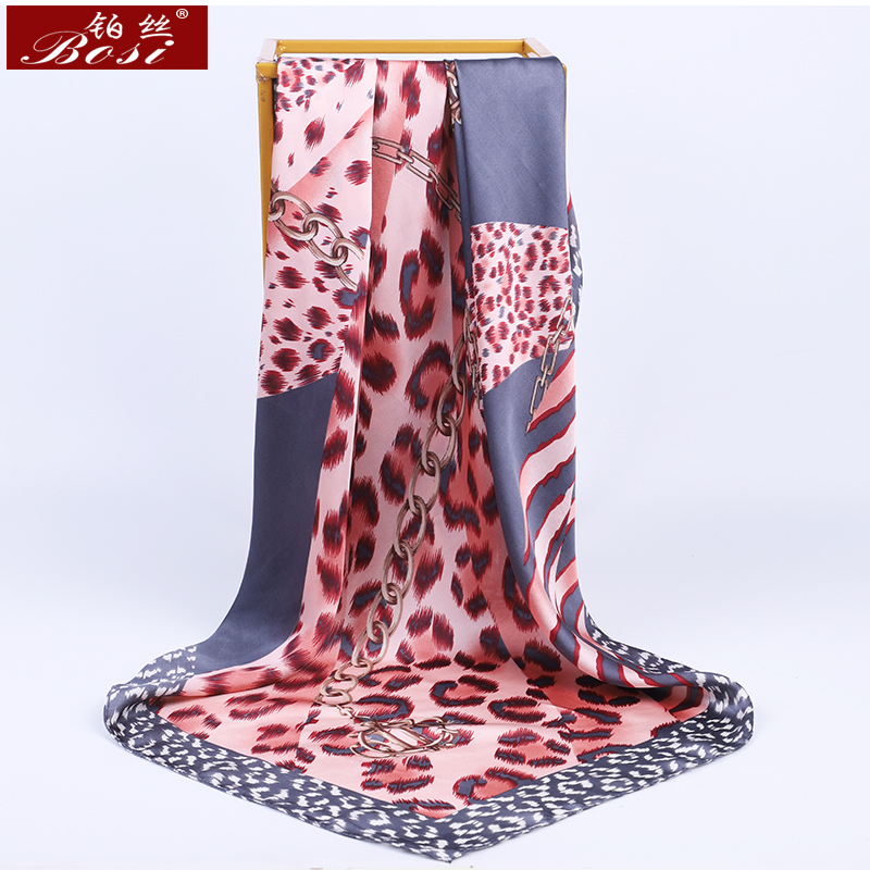 BOSI Fashion 90*90cm Square Leopard Print Pink Silk Satin Scarf For Women Shawl Chain Print Spring Elegant Luxury Brand Scarves