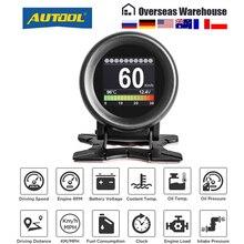Autool x60 display obd2 velocímetro tacômetro tensão da bateria medidor de temperatura óleo água pressão quilometragem scanner automático hud