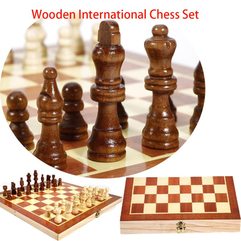 Folding Wooden Chess Set International Carrom Board Game Standard Chess Portable Chessboard Board Game For Entertainment Hotsell
