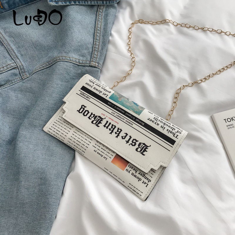 Fashion Personality Inkjet Newspaper Envelope Bag Ladies Chain Evening Bags Female Shoulder Messenger Crossbody Bag For Women