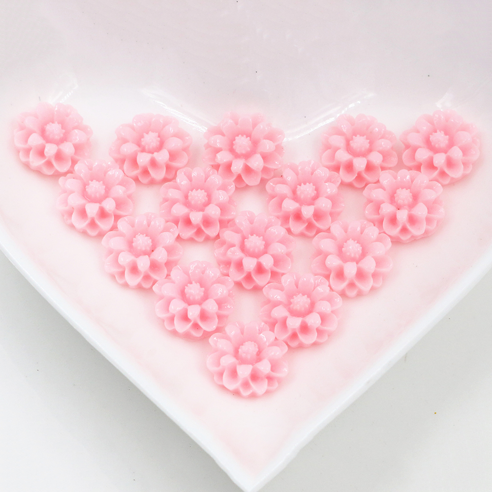 New Fashion 40pcs 12mm Light Pink Color Flat Back Resin Flower Cabochons Cameo  G6-07