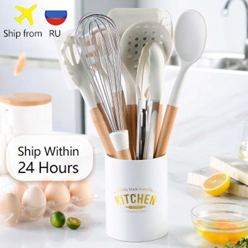 11PCS Silicone Kitchen Cookware High Temperature Resistant Non-Stick Wooden Handle Silicone Spatula Baking Tool With Storage Box