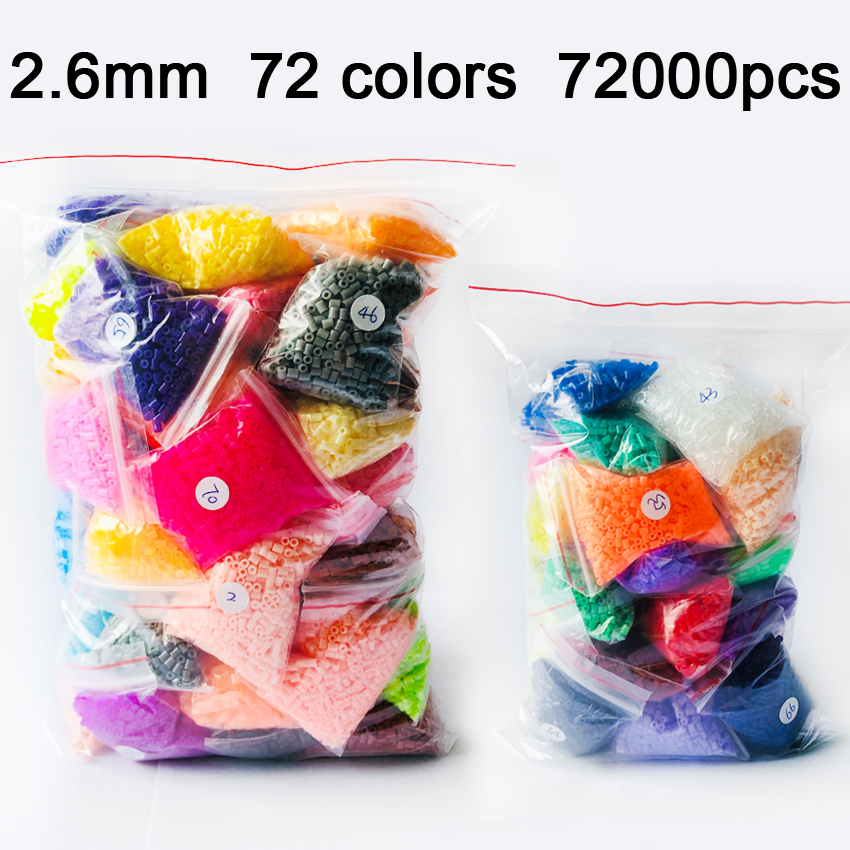 DOLLRYGA 72000pcs/bag Hama Beads 72 Colors 2.6mm Perler Bead Puzzle Education Toy Fuse Bead Jigsaw Puzzle For Children Abalorios