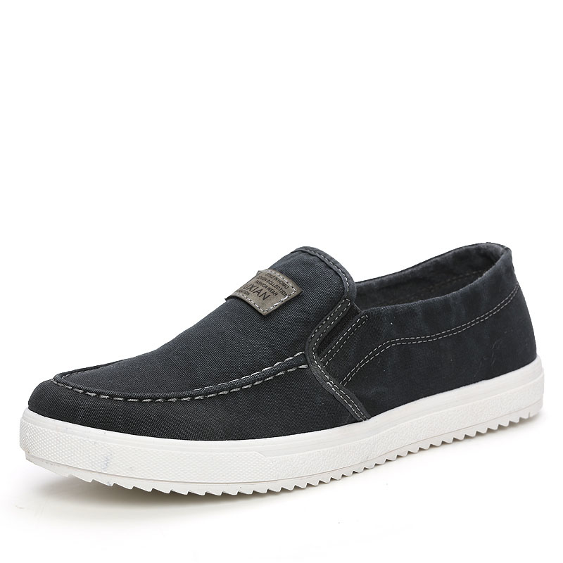 Мужская парусиновая обувь; сезон весна осень; дышащая обувь без шнуровки в стиле ретро; модная повседневная обувь для учащихся; цвет черный, белый, красный; S1251 1275; C1 - 2