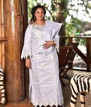 Robe longue avec foulard en bazin, nouvelle mode africaine, design de broderie, 2020