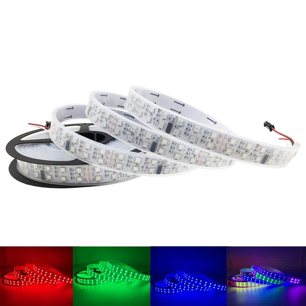 5050 bande de pixel Led rvb étanche Flexible Double rangée Led bande de lumière bande TM1812 IC 120 Leds/m DC12V