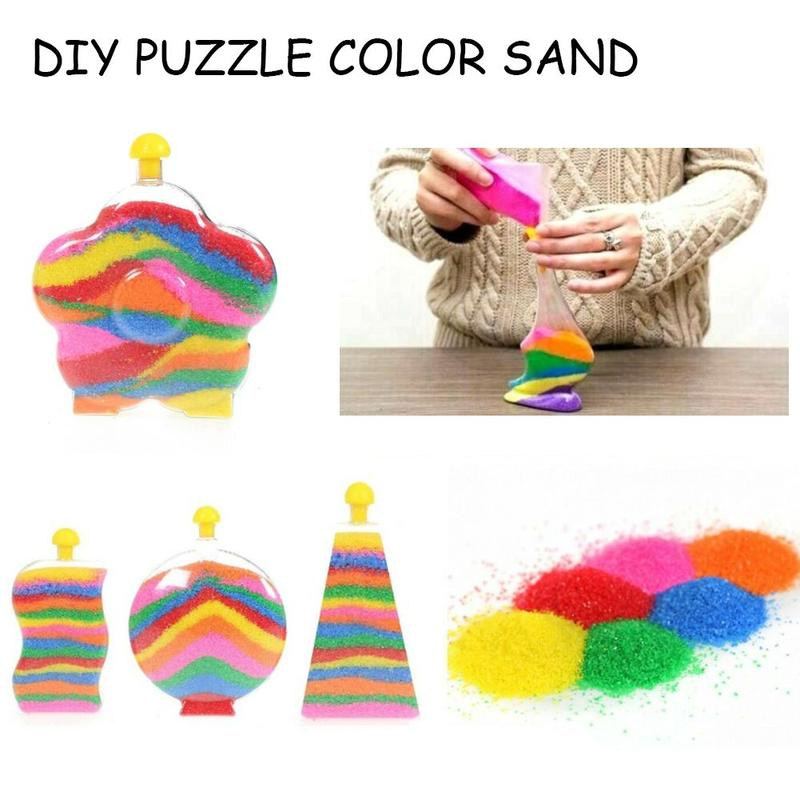 Children DIY Hand Made Colorful Luminous Sand Toys Fluorescent Sand Toys For Wishing Bottle DIY Puzzle Color Sand Handicrafts