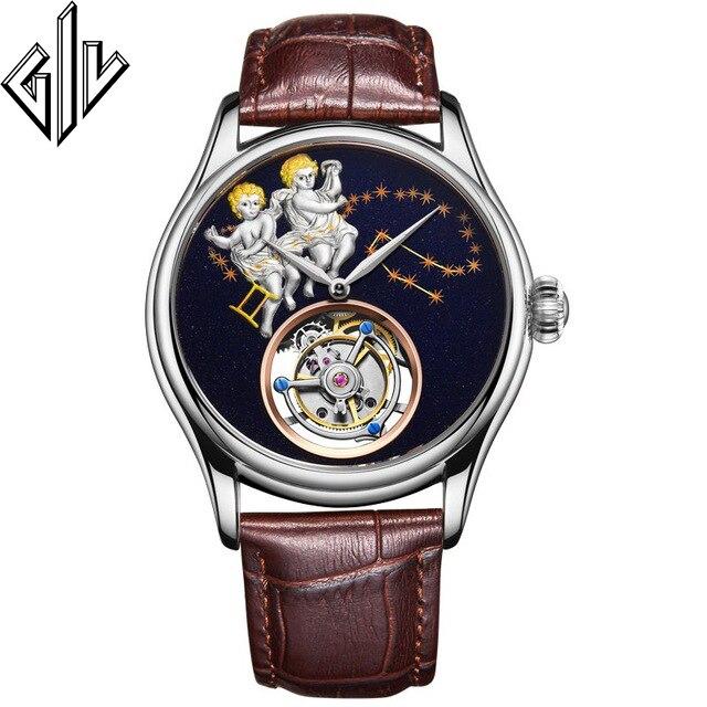 GIV Top Brand Tourbillon Watch Men Mechanical Hand Wind Luxury Mens Watches Sapphire Gemini Design Clock Reloj Hombre Male