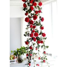 Artificial Flowers vine Pink Flowers Rattan Garden Hanging Garland Silk Flower Plant Leaf Wedding Vines Decoration Home Decor