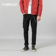 SIMWOOD 2019 осенние зимние новые черные джинсы мужские повседневные облегающие джинсовые брюки высокого качества размера плюс брендовая одежда SI980647