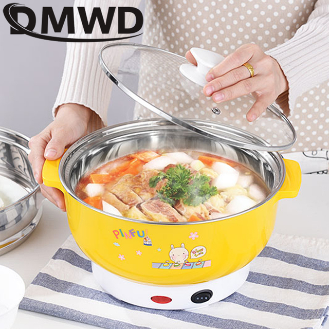 DMWD Multifunctional electric cooker MINI heating pan Stainless Steel Hotpot noodles rice Steamer Steamed eggs Soup pot 2L EU US