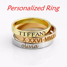 Women Engraved Ring Vintage Personalized Name ID Date Rose Gold Ring bague femme Shellhard Punk Style Charm Men Silver Ring vintage engraved faux gem ring for women