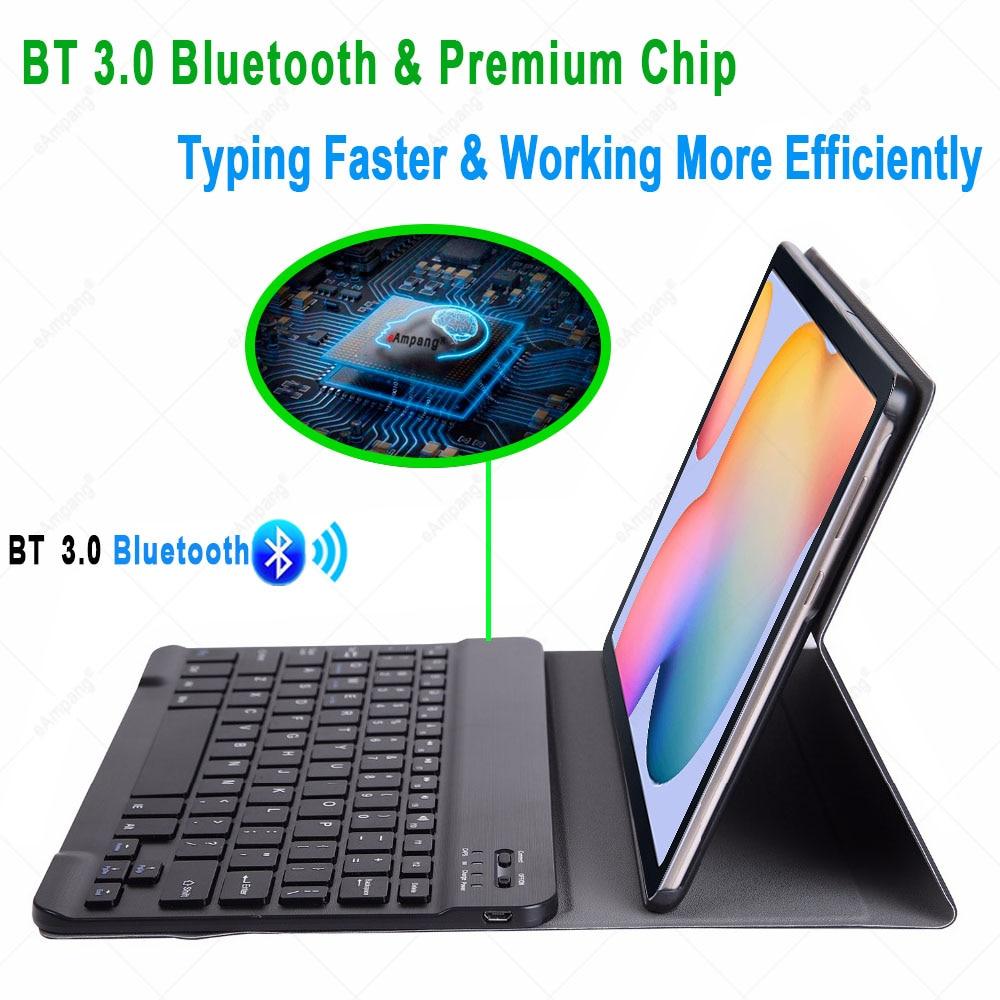 Чехол для Samsung Galaxy Tab S6 Lite 10,4, чехол для клавиатуры Tab S6 10,5, S7 11, чехол с русской, испанской, английской, корейской Bluetooth клавиатурой-2