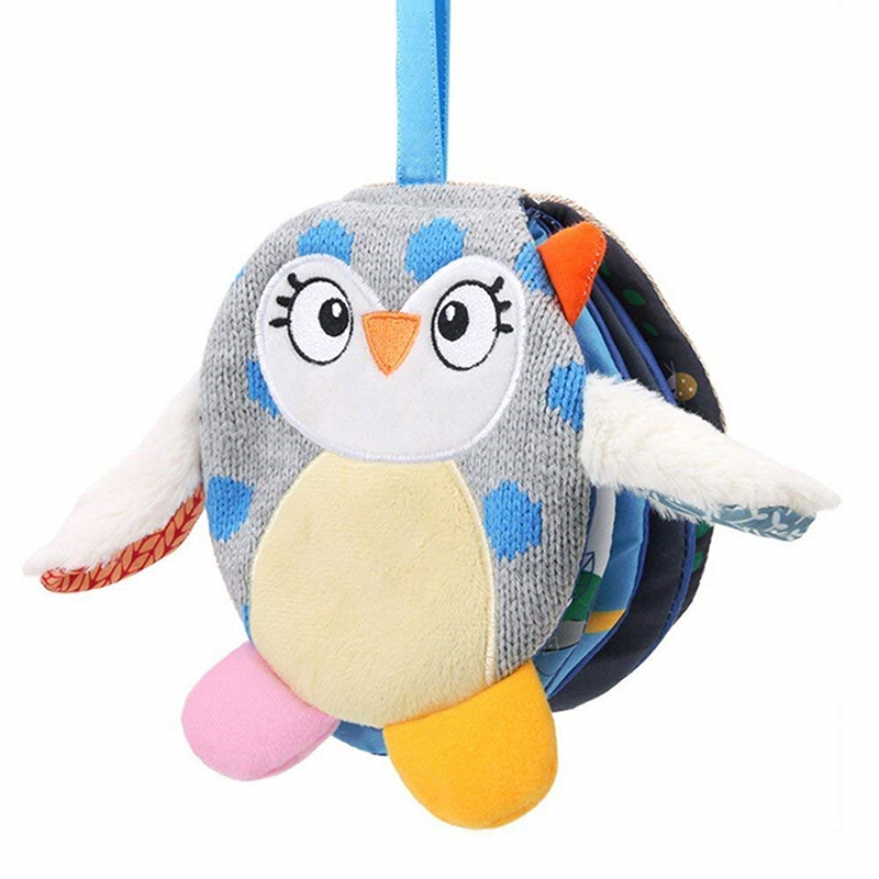 6 Pages Baby Learning  Rustle Hot Educational Goodnight Books Soft Owl Quite Book Sound Infant Stroller Hanging Rattle Toys