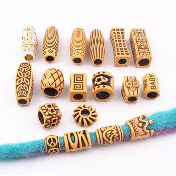 10 pcs/set Hair Jewelry Braid Rings Decoration Pendants Dreadlocks Beads Cuffs Rings Imitation Wood Plastic Beading Accessories