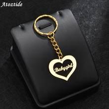 Atoztide-porte-clés personnalisé avec pendentif personnalisé avec nom, en acier inoxydable, or, porte-clés pour femmes et hommes, bijoux cadeau, breloque pour sac