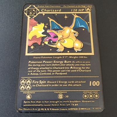 Покемон Игры Аниме битва карта золотая металлическая карточка Чаризард Пикачу коллекция карточная фигурка Модель Детская игрушка подарок - Цвет: Charizard H