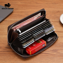 BISON DENIM hakiki deri cüzdan erkekler fermuar para cebi uzun çanta erkek pasaport kapağı RFID engelleme kartlıklı cüzdan W8226