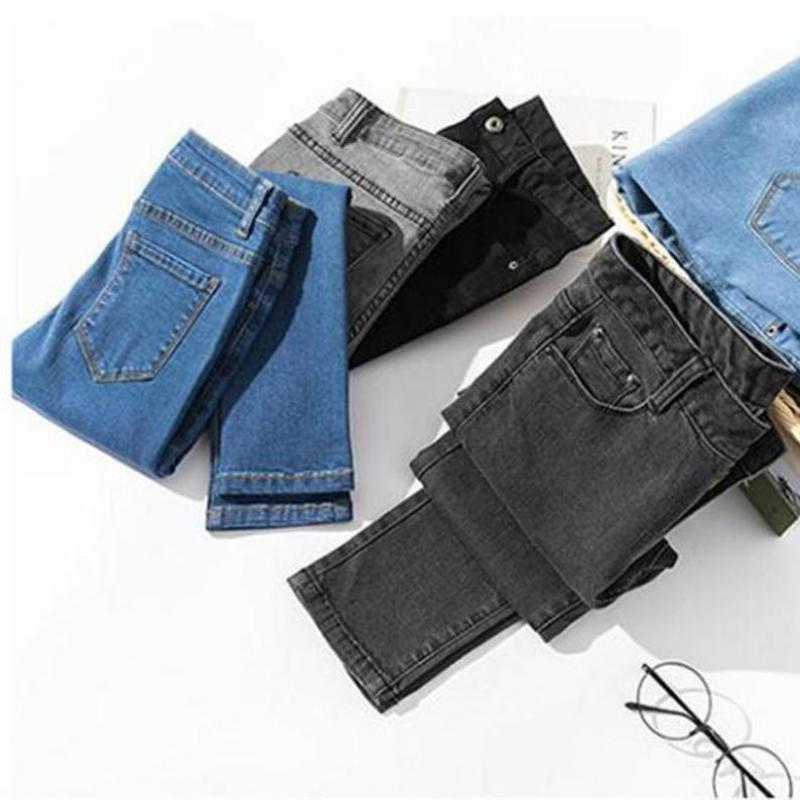 Capri Jeans Pencil Pants Women 2019 Ankle Length Female Denim Blue Grey Black Jeans Leggings Plus Size Ladies Jeans Pencil Pants