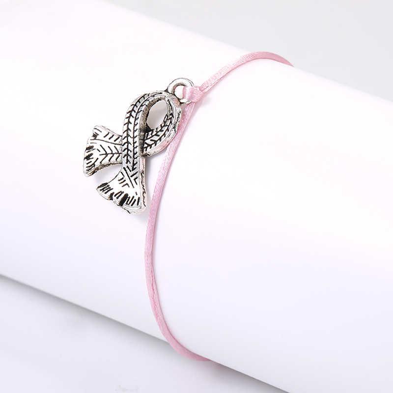 Fighter świadomość raka piersi różowa wstążka bransoletka dla kobiet regulowany różowy sznureczek bransoletki urok karty zrobić życzenie biżuteria