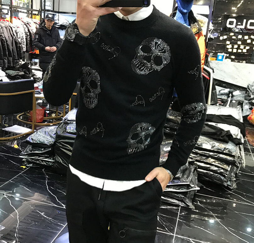 High Quality Men Sweater Flim Fit Skull Heavy Technology 2020 New