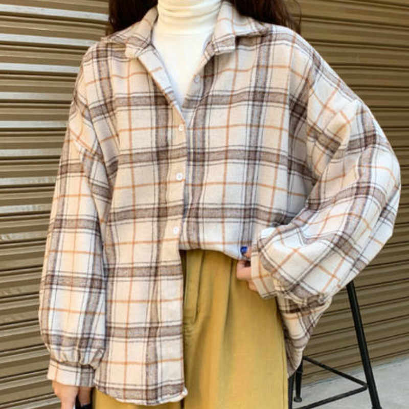 Chaquetas de mujer a cuadros manga murciélago Zip-up talla grande BF Harajuku Vintage Chic estudiantes All-match Popular primavera suelta abrigos suaves