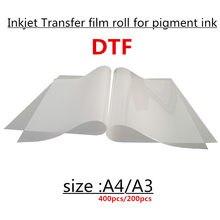200 peças a3 tamanho dtf impressão a jato de tinta de transferência térmica pet film folhas para t camisa transferência