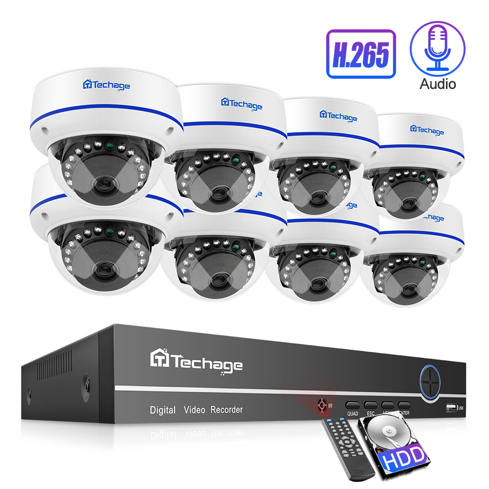 Techage H.265 8CH 1080P POE NVR Kit Security Camera System 2.0MP HD Dome CCTV IR Night Vision Video Surveillance Set