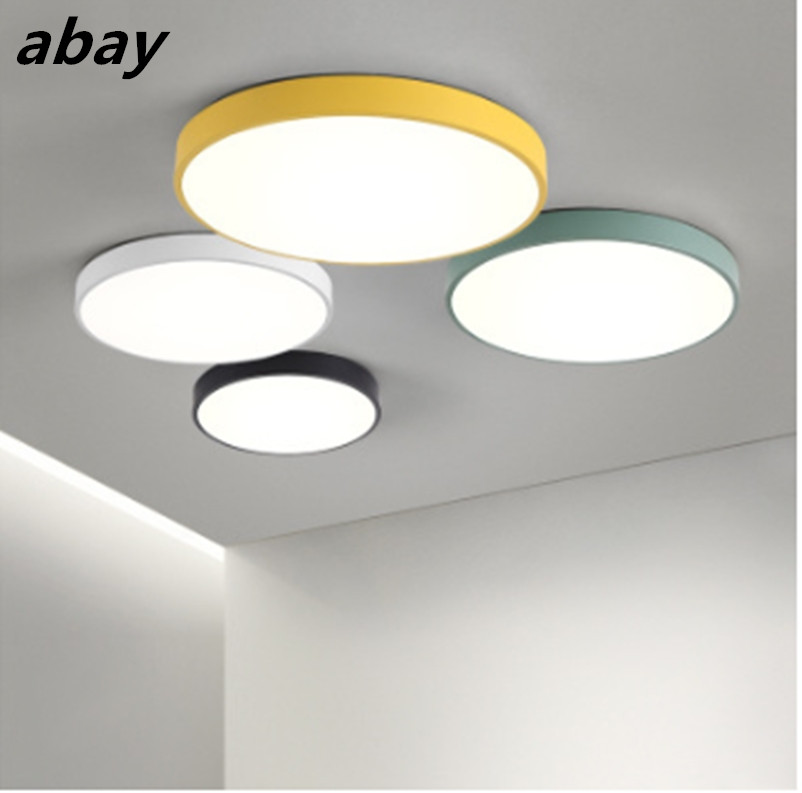 Modern Nordic LED Ceiling Lights Bedroom remote control for 8-20square meters plafonnier led lighting fixture black white