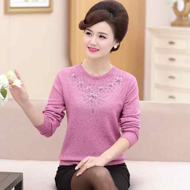 Suéter de cachemira de mediana edad pulóver de invierno para mujer suéter de punto sólido para mujer otoño mujer suéter de gran tamaño DC167