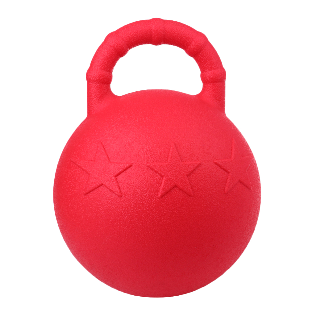 Rubber Chew Jolly Balls, 9.84Inch Anti-Burst Horse Pony Dogs Soccer Ball Play Toy With Handle