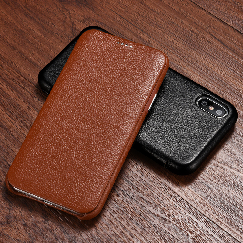 Für <font><b>iPhone</b></font> X XS XR Echtem Fall <font><b>iPhone</b></font> 7 <font><b>8</b></font> 8Plus Rindsleder Echt Leder Retro Flip <font><b>Case</b></font> Slim Smart abdeckung für Apple <font><b>iPhone</b></font> XS Max image