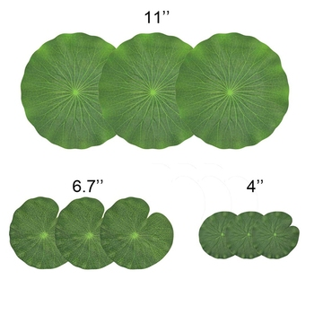 Pack Of 9 Artificial Floating Foam Lotus Leaves Water Lily Pads Ornaments UK