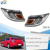 ZUK Pair Outer Rear Bumper LED Tail Light Tail Lamp For Mazda 6 Sport Sedan Liftback GH 2010 2011 2012 2013 Car Tailights