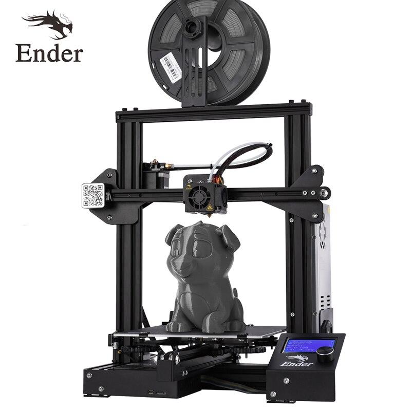 Kit DIY impressora de 2019 Ender-3X 3D I3 mini impressora 3D Continuação Do Poder De Impressão de Grande Porte. placa magnética Criatividade 3D Ender 3X