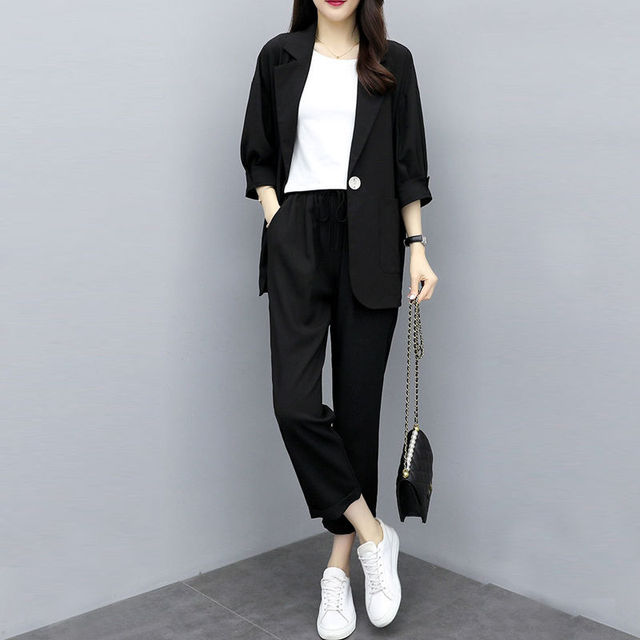 Two-piece 2021 new small suit jacket large size Korean version of loose slim casual suit suit women 4